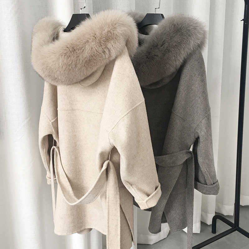 New arrival 2019 best seller cashmere blend coat with genuine fur hood collar plus size wool coat for women with belt
