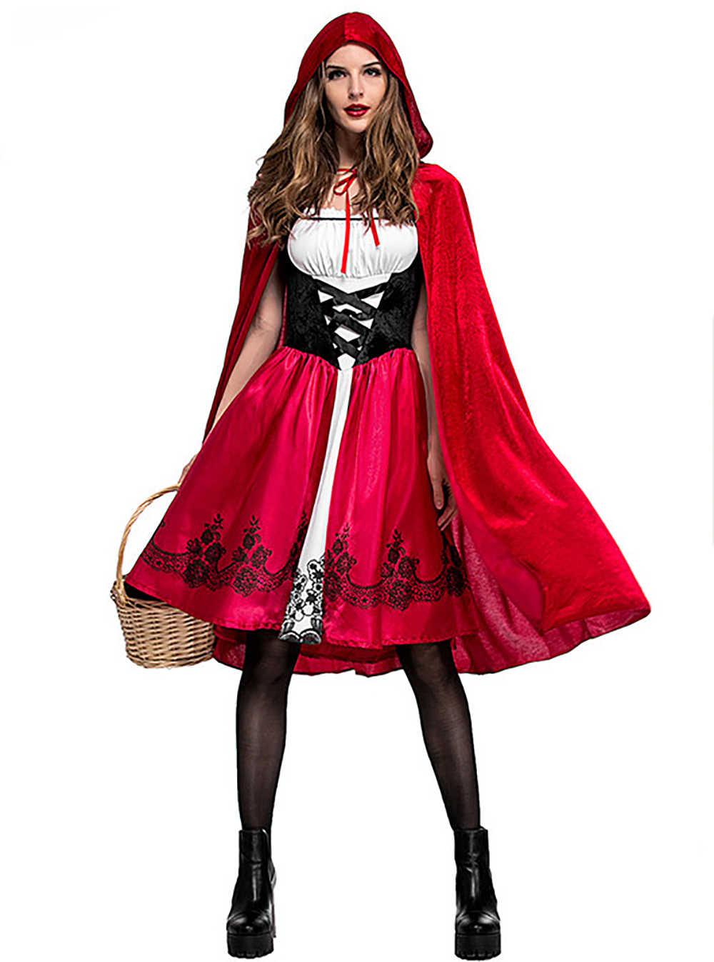Nombre Caperucita Roja Version Porno disfraz de caperucita roja de talla grande 3xl para mujer, vestido de halloween para adulto elegante y capa, trajes de cosplay para fiesta