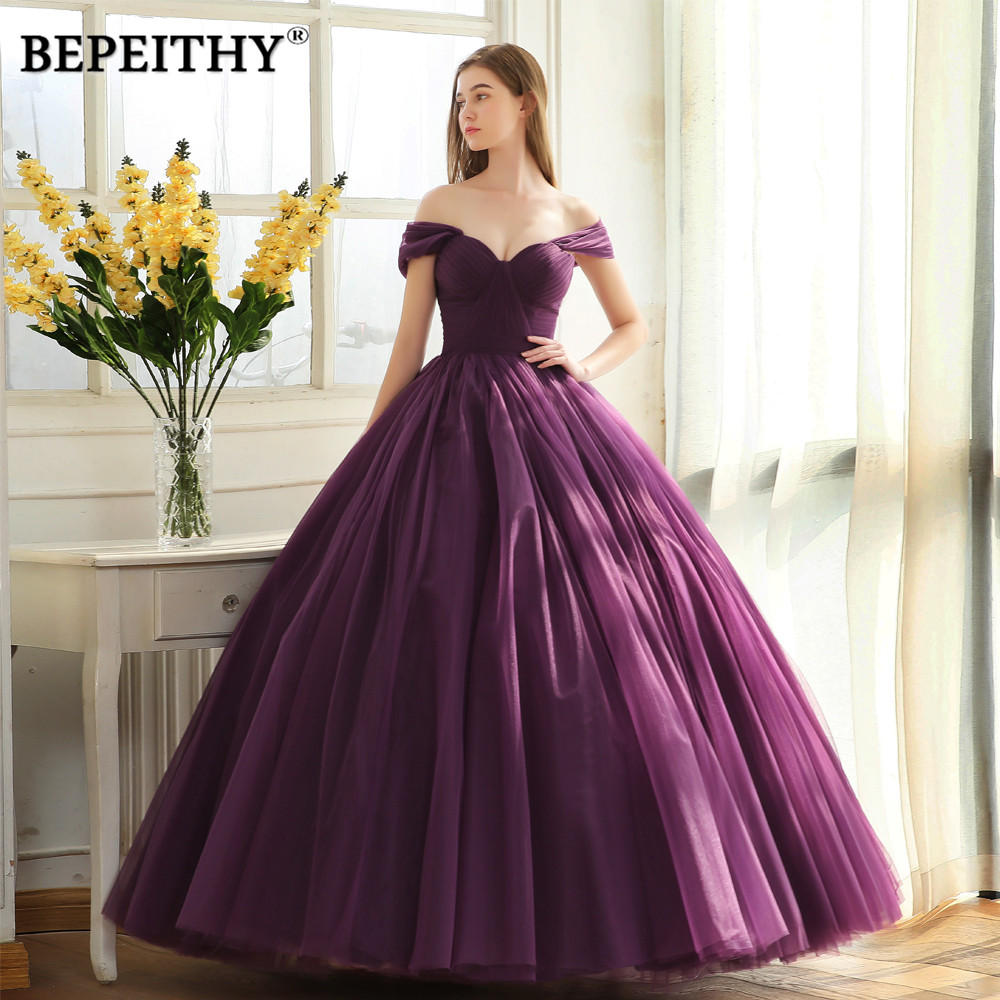 BEPEITHY Off The Shoulder Ball Gown Long Evening Dress Party Elegant 2019 Robe De Soiree Simple Prom Dresses
