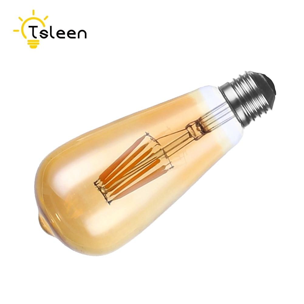Cheap 220V 110V Lampada LED Edison E27 16W Dimmable Filament LED Bulbs ST64 Gold Glass Bar Light High Luminous Dimmer COB cheap wholesale 12pcs dimmer e27 st64 16w warm white dimmable cob led filament bulbs ac 220v 110v filament vintage bulb light