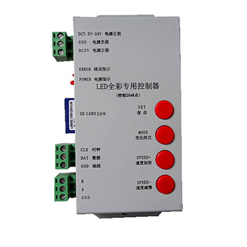 T1000S SD Card LED Controller Pixel Controller for WS2812 B2812B DMX512 ws2811 WS2801 LPD8806 APA102 RGB controller