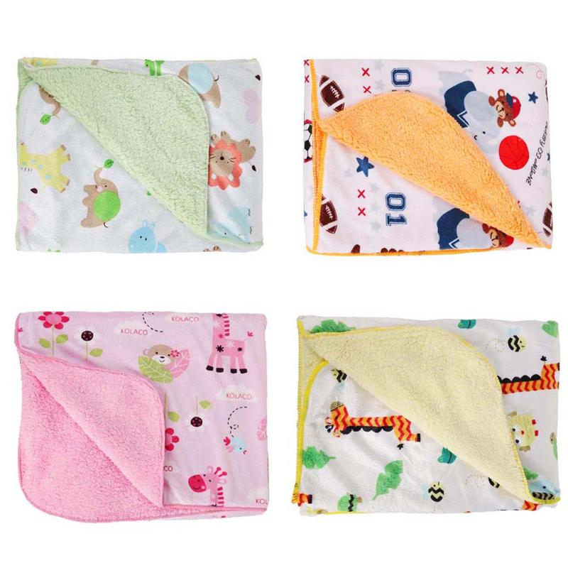 Baby Blankets Cute Cartoon Giraffe Print Thicken Double Layer Stroller Bedding Quilt Newborn Infant Swaddling Wrap Baby Blanket free shipping infant children cartoon thick coral cashmere blankets baby nap blanket baby quilt size is 110 135 cm t01 page 8
