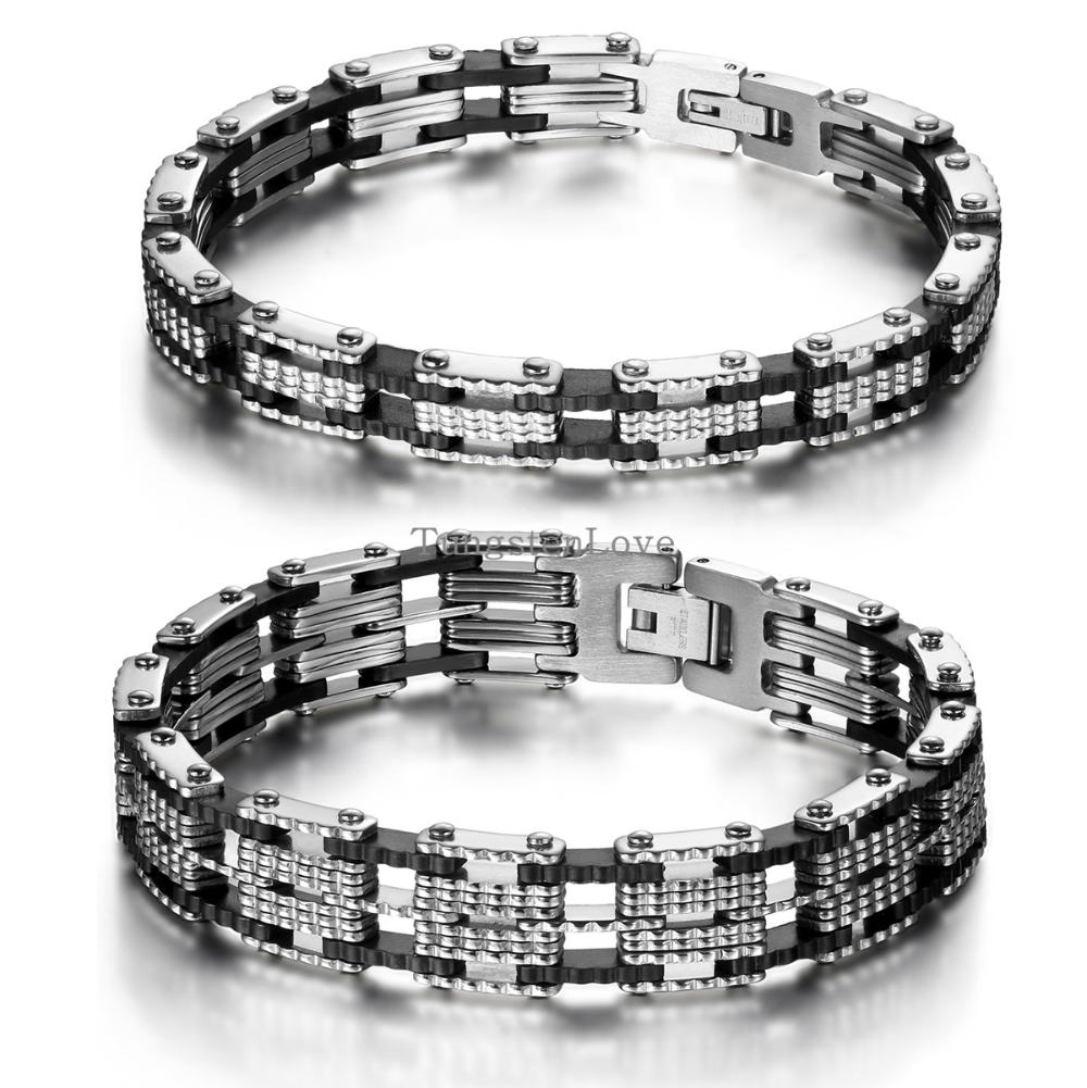 Trendy 21cm Inlay Rubber Black stainless steel bracelet mens bangle
