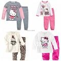 Новый комплект 2016 осенью одежда, Зимний костюм, Дети девочка, Привет котенок, Толстый термобелье, Дети пижамы установить