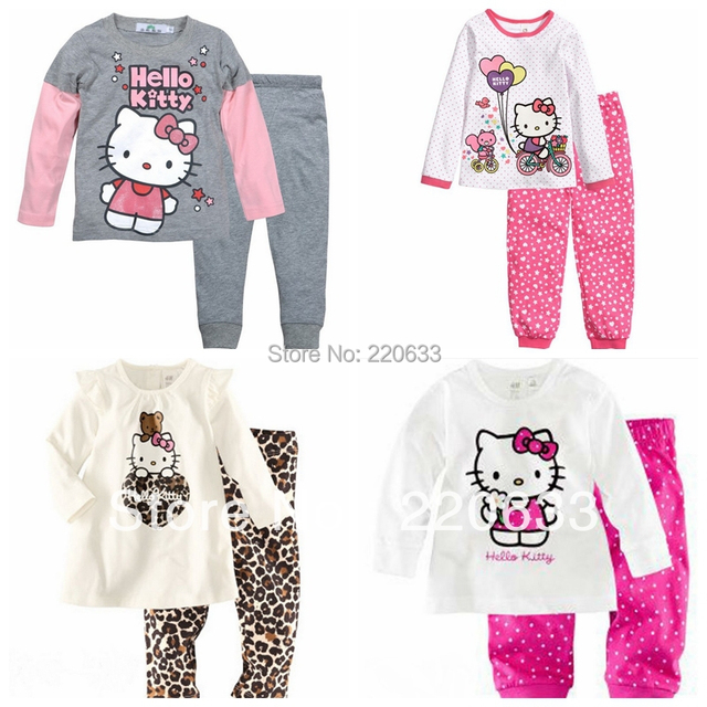 Set 2016 roupa nova outono, Inverno terno, Bebê crianças menina pijama, Olá kitty, Roupa interior térmica de espessura, Crianças pijamas set