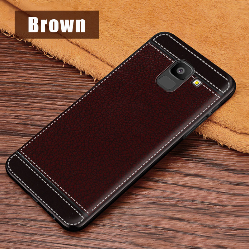 KSAM1105Z_1_JONSONW Phone Case For Samsung A7 2018 A6 A8 Plus Leather Skin Soft TPU Silicone Case For J4 J6+ J8 2018 Premium Leather Back Cover Case