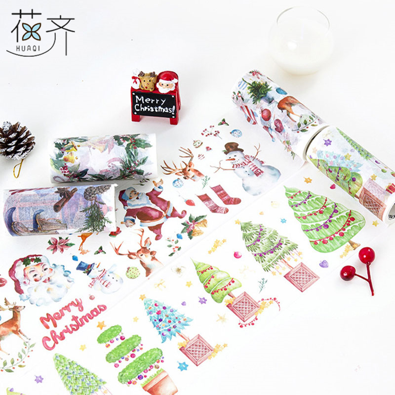 huaqi Cute 10cm Merry Christmas Masking Washi Tape DIY Decorative Tape Sticker Label Stationery For Kid Gifts School Supplies bulk christmas trees washi tape set of 12pcs fun versatile and decorative craft tape card making