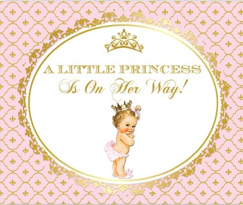 Rosa Und Goldbabyparty | Benutzerdefinierte Rosa Und Gold Prinzessin Crown Baby Dusche 1st Geburtstag Hintergrund Hohe Qualität Computer Drucken Party Hintergrund