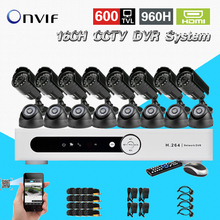 TEATE 600TVL 16 Ch IR indoor outdoor waterproof video Surveillance Camera security Kit Home cctv HDMI
