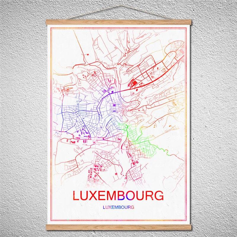Stadt karte von LUXEMBURG Kundenspezifische Muster abstrakte vintage ...