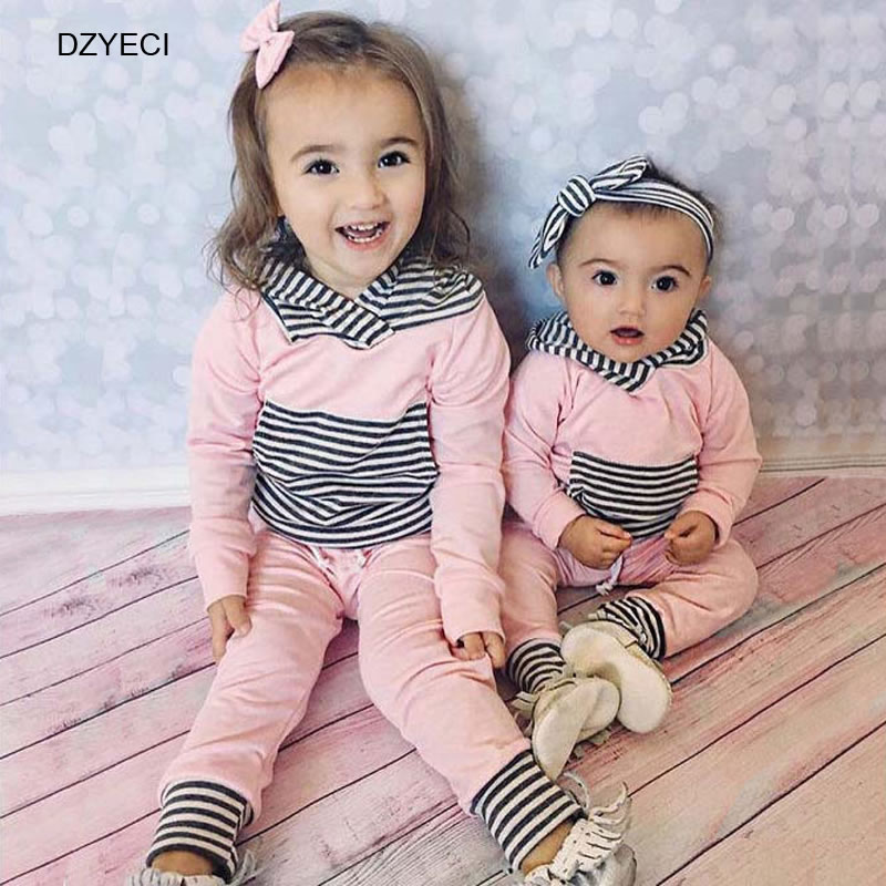 New Born 1st First Birthday Outfits For Baby Boy Girl Set Clothes China Year Toddler Striped Hooded T Shirt Sport Pant 2PCS Suit In Clothing Sets From