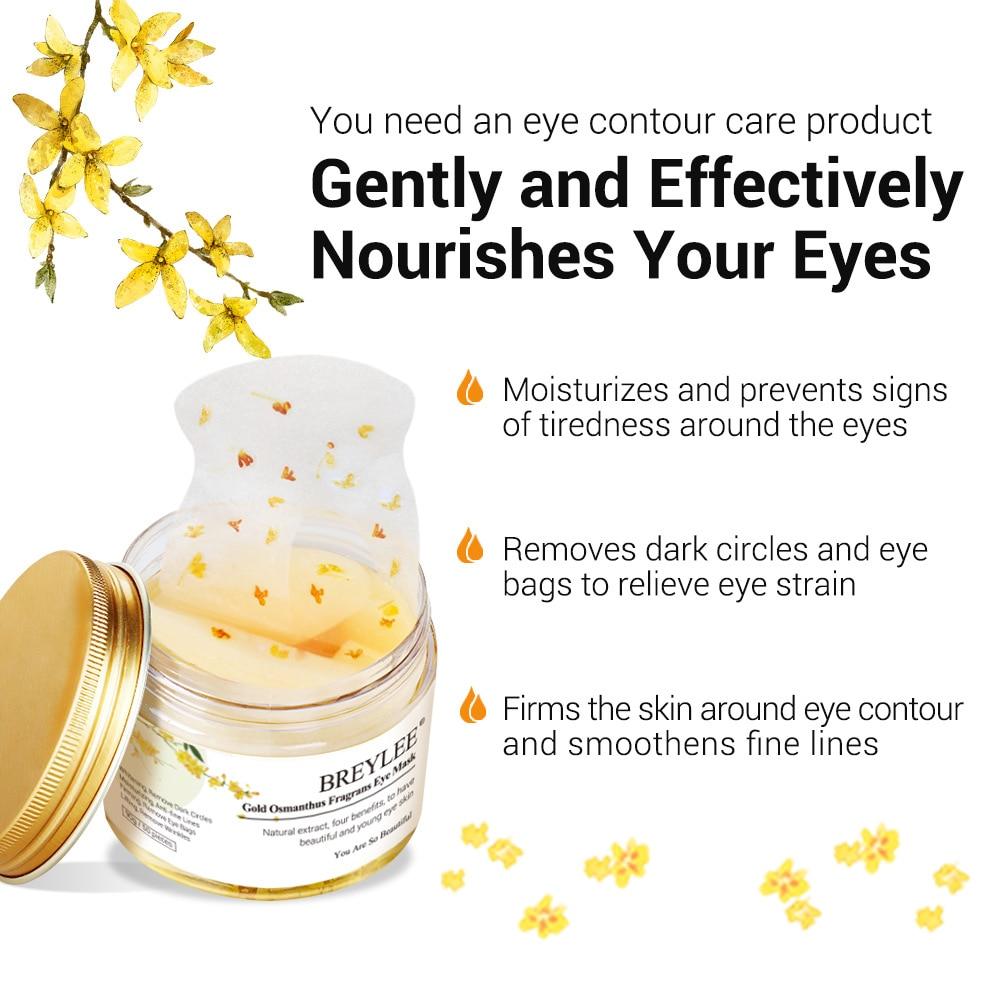 50pcs BREYLEE Gold Osmanthus Fragrans Eye Mask Collagen Gel Eye Patch Face Skin Care Remove Dark Circles Lifting Firming Serum
