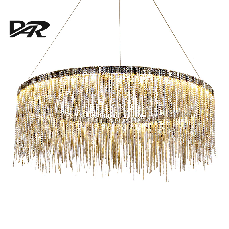 Post Modern Aluminum Chain Tassel Chandelier Fixtures Italy Design SilverRose Gold Luxury Chandeliers For Living Dining Room