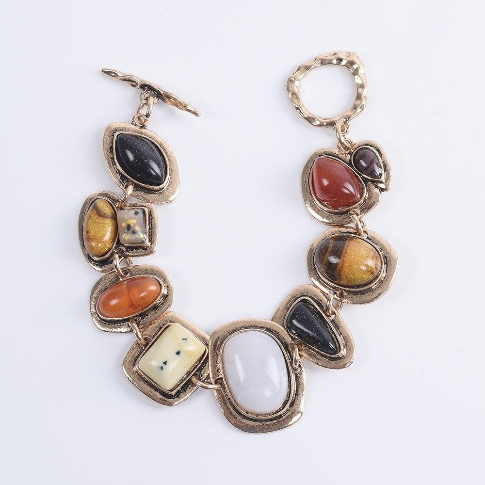 Bohème ethnique Bracelets femmes Za contraste métal creux pierre Bracelets femme Vintage Statment amitié Bracelets pour femme 1