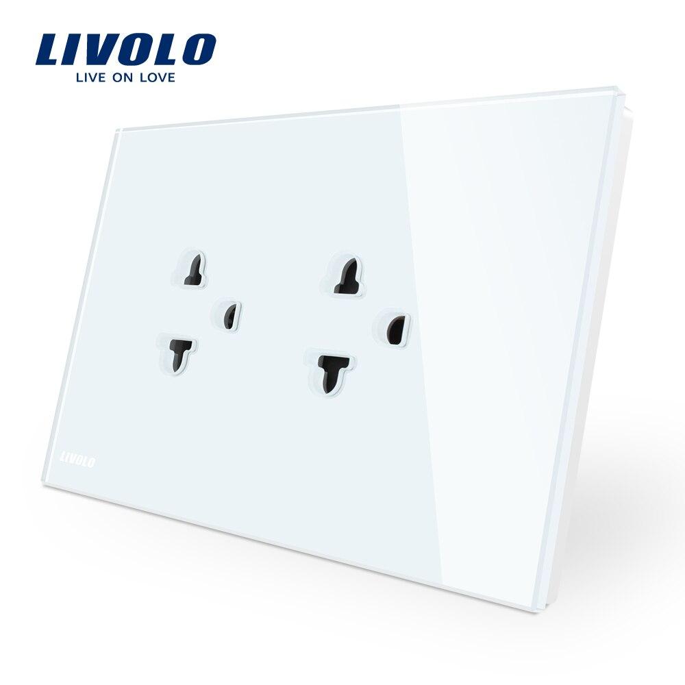 Livolo AU UE y ee.uu. enchufe Panel de cristal blanco, AC 110 ~ 250 V toma de corriente de la pared, VL-C9C2EA-11