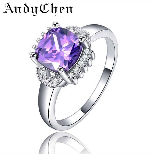 AndyChen Silver Color Square Purple Crystal Jewelry Engagement Rings for Women Wedding Bague Female Bijoux Gift ASR117