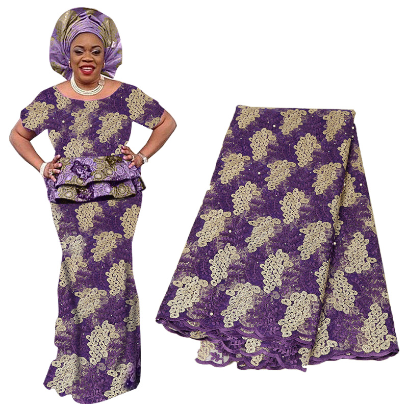 Luxury Nigerian Lace Fabric French Lace Fabric For Wedding Party Dresses Latest African Tulle Lace With Stones