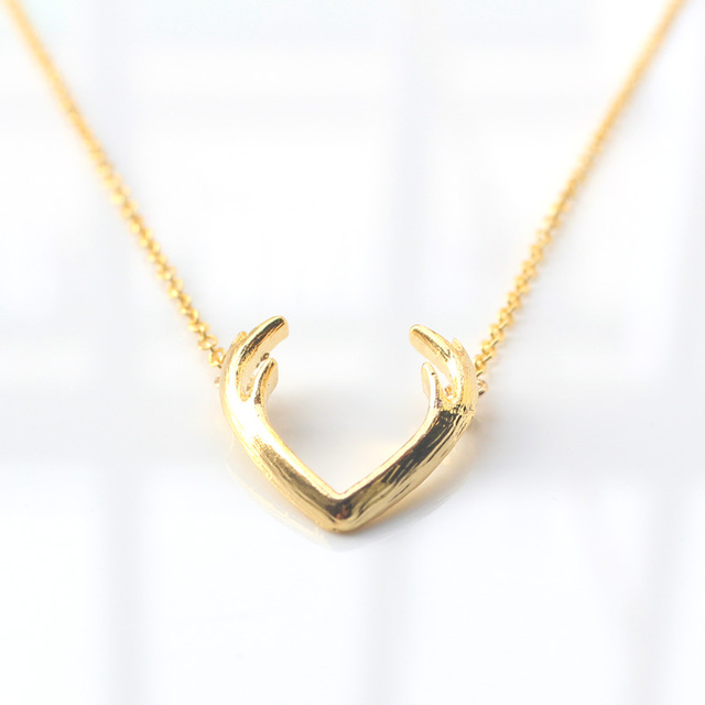 Buy fashion deer horn antler necklace for Women s minimalist jewelry