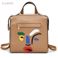 SAJOSE 2017 Cartoon Image Student Bag Fashion Retro Shoulder Bag Womens Leather Backpack School Bags Backpacks