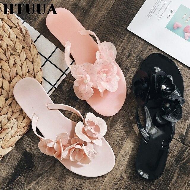 HTUUA 2019 Tatlı Inci Çiçek Terlik Kadın Jöle Ayakkabı Yaz Düz Slaytlar Siyah Pembe Plaj Flip Flop Dış Sandalet SX2033