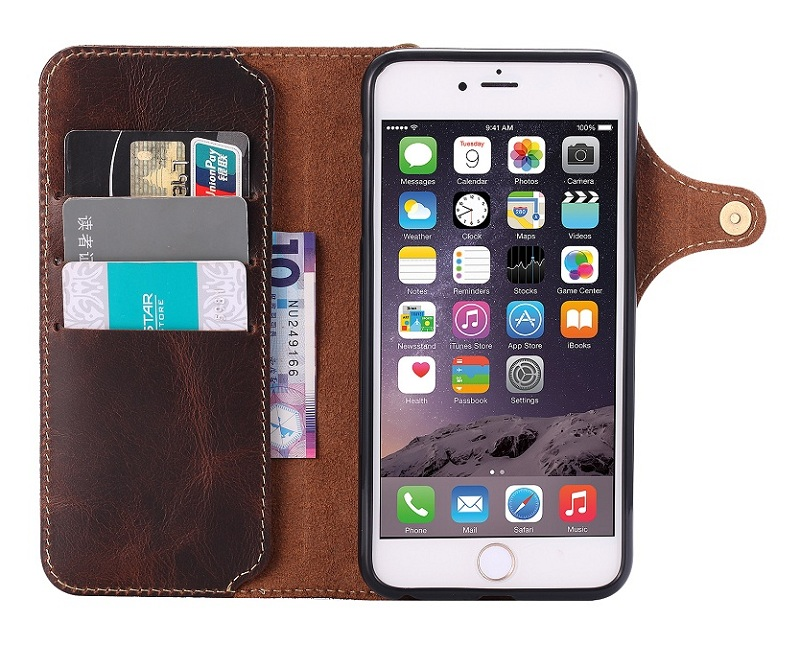brown genuine leather flip case for iphone 6 plus 6s plus luxury card wallet cover