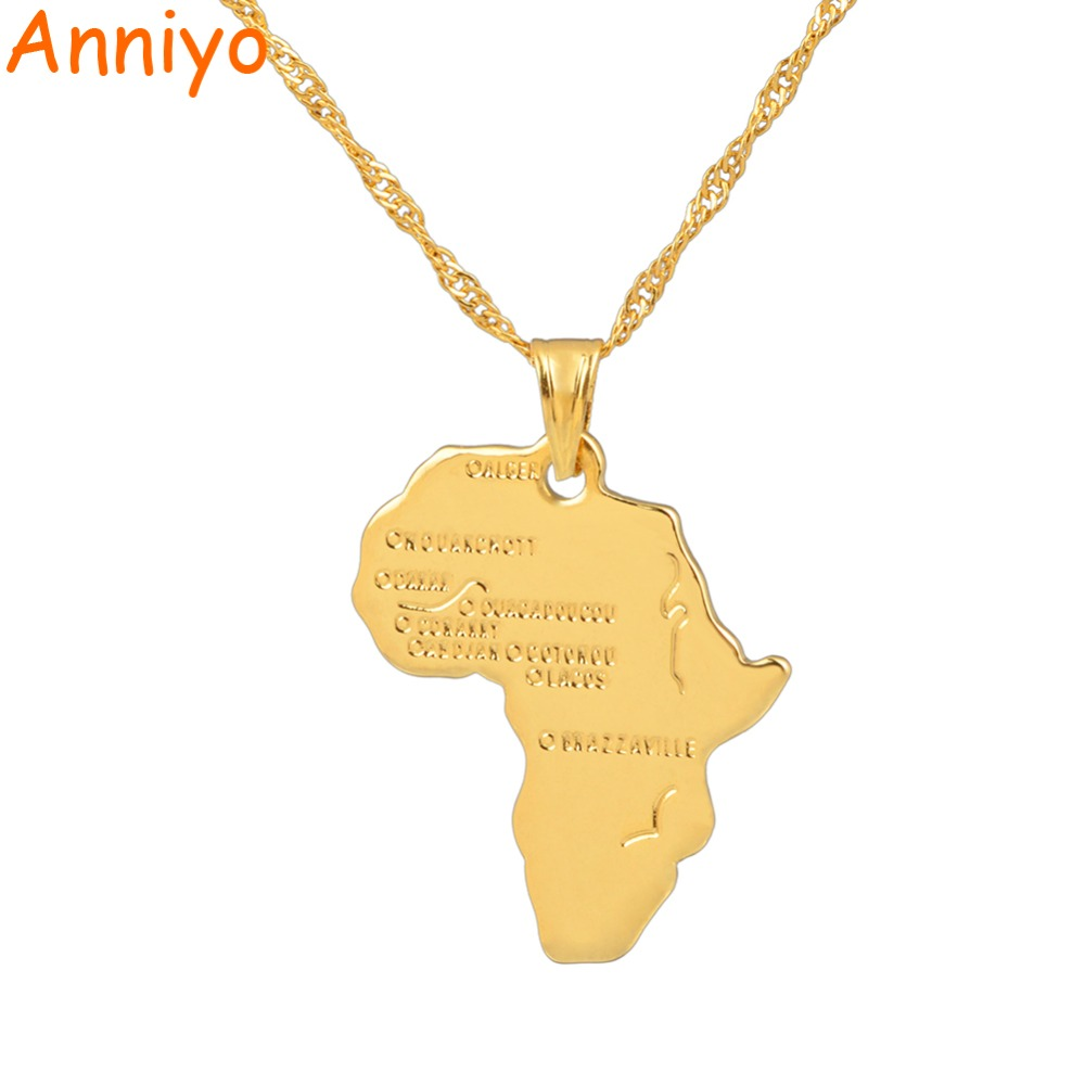 Anniyo 9 Style Africa Map Pendant Necklace for Women Men Silver/Gold Color Ethiopian Jewelry Wholesale African Maps Hiphop Item