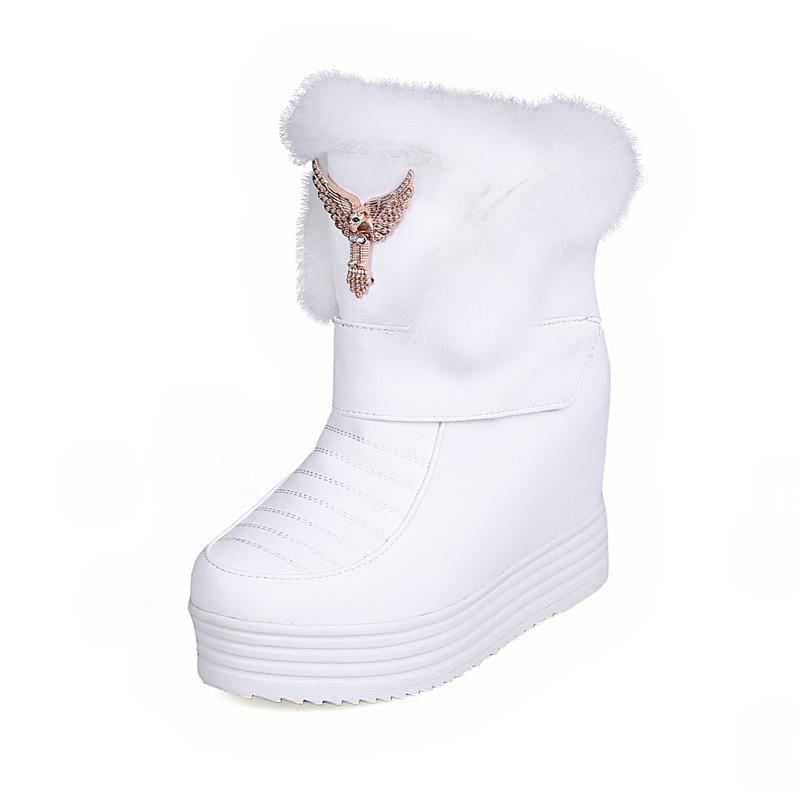 Negro Marca Karinluna La Nieve 2019 Gran Diseño Moda Plataforma Mujer De Tacón Botas Piel 33 Las Tamaño 43 Interior Invierno Zapatos blanco rosado Rusia Mujeres twqIBw