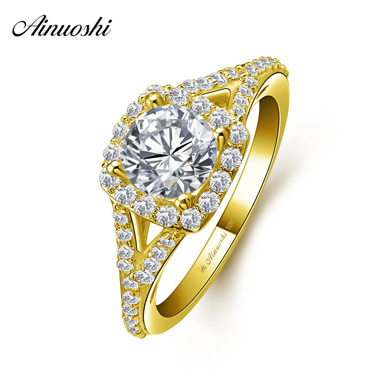 AINUOSHI 10k Solid Yellow Gold Bridal Ring 4 Prongs 1ct Round Cut SONA Diamond Wedding Engagement Jewelry Square Halo Round Band