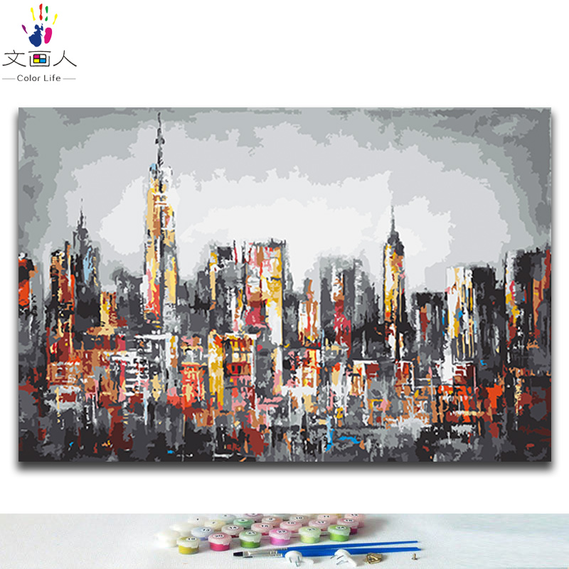 DIY oil paint By Numbers Ancient city buildings abstract picture painting coloring By Numbers with kits for hoom wall decor