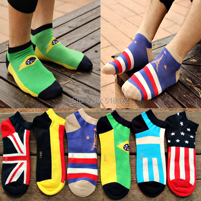 Brand Good quality cotton socks mens spring/autumn ankle socks Three-dimensional national flags design cool socks