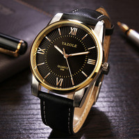 Top Brand YAZOLE Luxury Gold Watch Men Business Quartz Watch Fashion Men Leather Watches Luminous Male