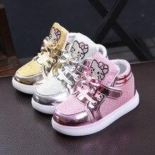 Новинка; брендовые Детские светящиеся кроссовки с рисунком KT; стразы; детская обувь; Светодиодный светящийся светильник для маленьких девочек; повседневная обувь