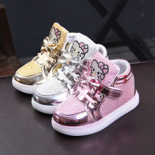 New Brand Cartoon KT Children Glowing sneakers Rhinestone footwear kids