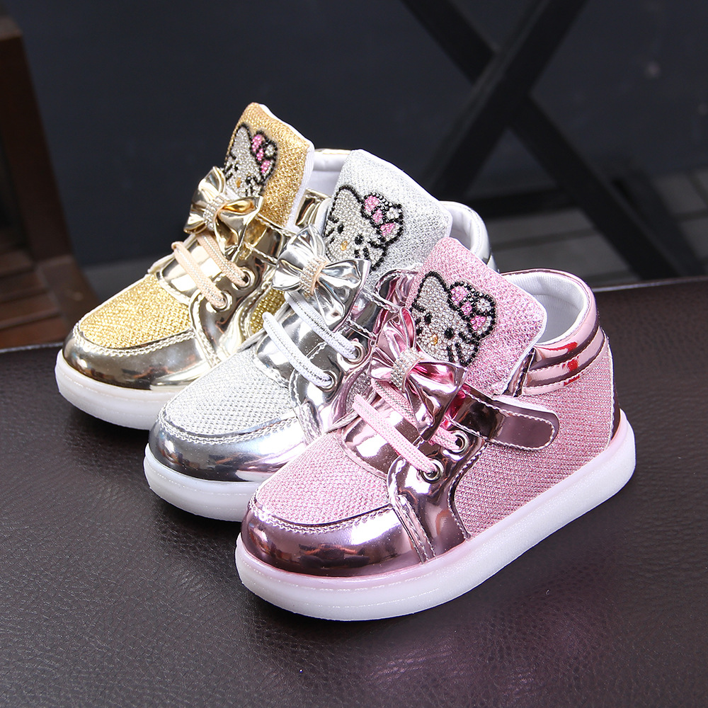 New Brand Cartoon KT Children Glowing Sneakers Rhinestone Footwear Kids Shoes LED Flashing Baby Girls Casual Shoes With Light