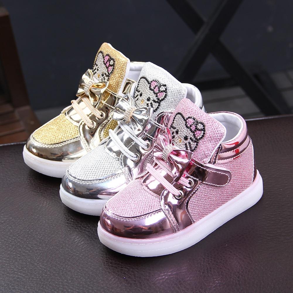 Nueva marca de dibujos animados de los niños brillante de diamantes de imitación calzado de niños LED bebé niñas zapatos casuales con luz