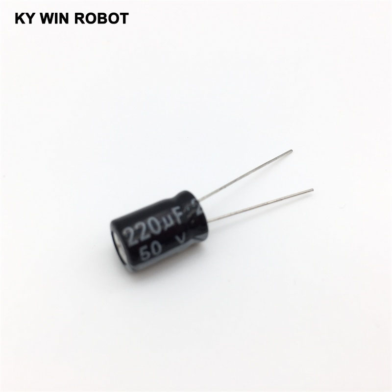 10pcs/lot Aluminum Electrolytic Capacitor 50V / 220 UF 50V/220UF Electrolytic Capacitor Size 8*12 mm plug-in 50V 220UF