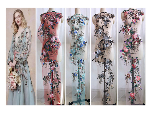 Большая Цветочная вышивка органза кружева аппликация патч для вечернего платья нашиваемые заплатки Diy Одежда украшения Аксессуары