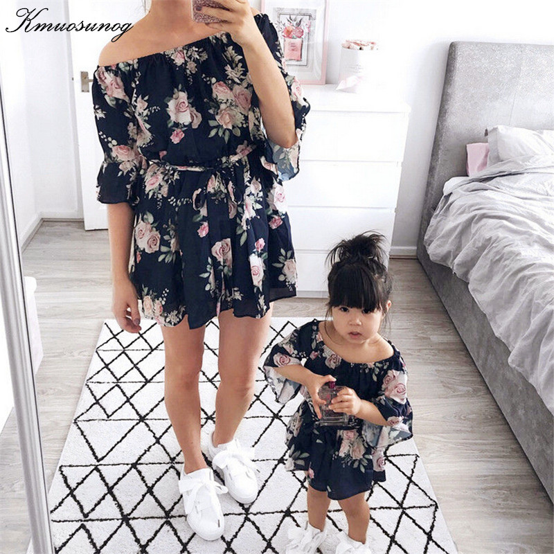 Family Matching Outfits Sundress Girl Off-Shoulder Summer Chiffon Boho Floral H0866 Loose