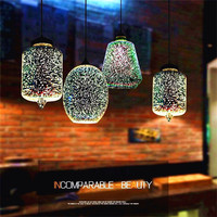 3D Magic Pendant Light Creative Design Stained Glass Restaurant Bar Hanging Lamp Retro Cafe Bar Clothing Shop Pendant Lamp