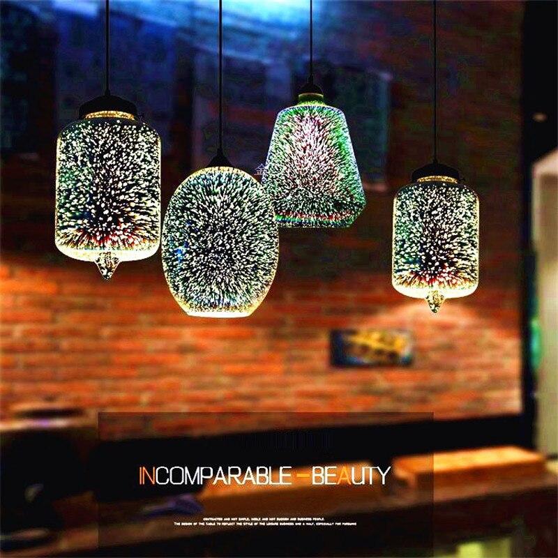 3D magique pendentif lumière Design créatif vitrail Restaurant Bar suspension lampe rétro café Bar vêtements boutique pendentif lampe