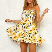 Lily Rosie Girl 2018 Sexy Mini Strapless Summer Dress Print Mustard Yellow Women Dresses Female Backless