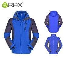 RAX Winter Outdoor Waterproof Jacket Men 3 in 1 Windproof Softshell Jacket Men Hiking Jacket Men Windbreaker Outdoor Breathable