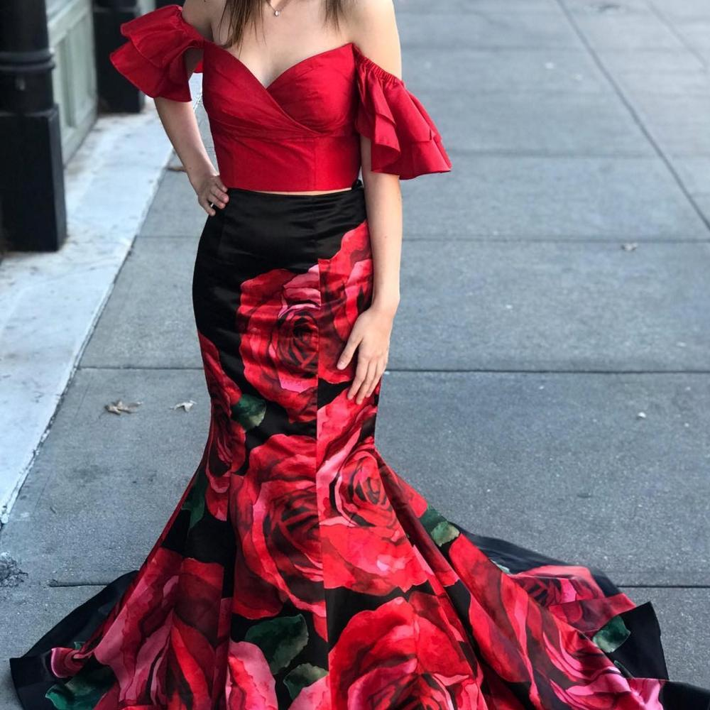 Print Floral Roses 2-Piece   Prom     Dresses   2k19 Mermaid Off-the-Shoulder Sweep Train Pageant Gowns Backless Red/Black