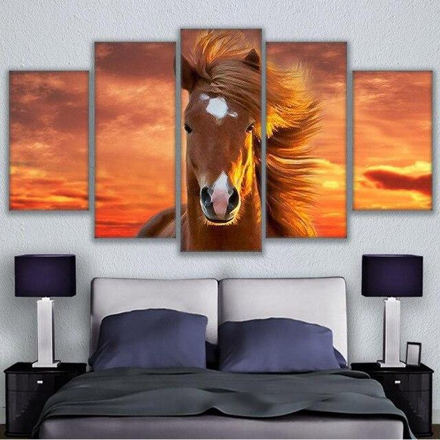 Cornici per quadri decorativi 5 pannello di arte della tela di stampa moderna animale cavallo - Quadri per camera bambini ...