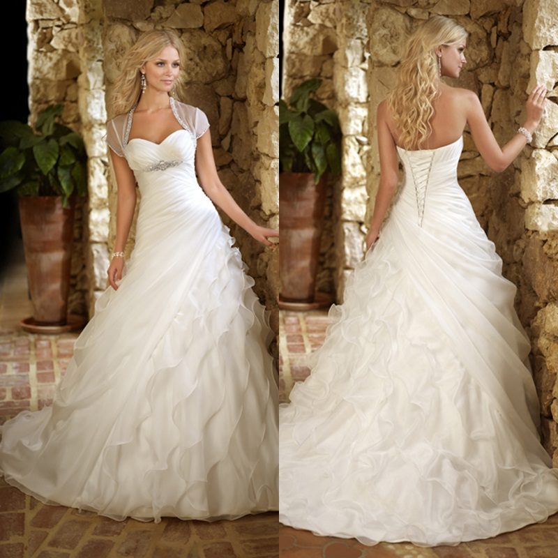 Organza Wedding Gowns: 2016 New Sweetheart Organza A Line Pleats Ruched Beads