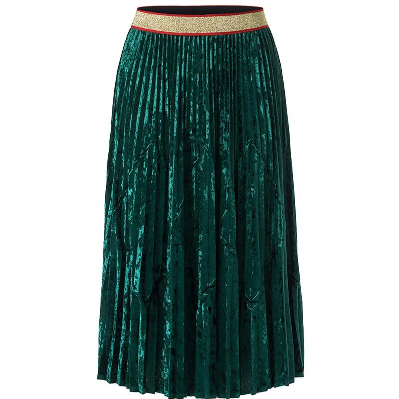 Plisado Impresionante Coreano Pista verde Para Saia Elegante Único Falda azul Color Sólido La De Terciopelo Marrón Opción Multicolor gris Estilo Real qPEd6q