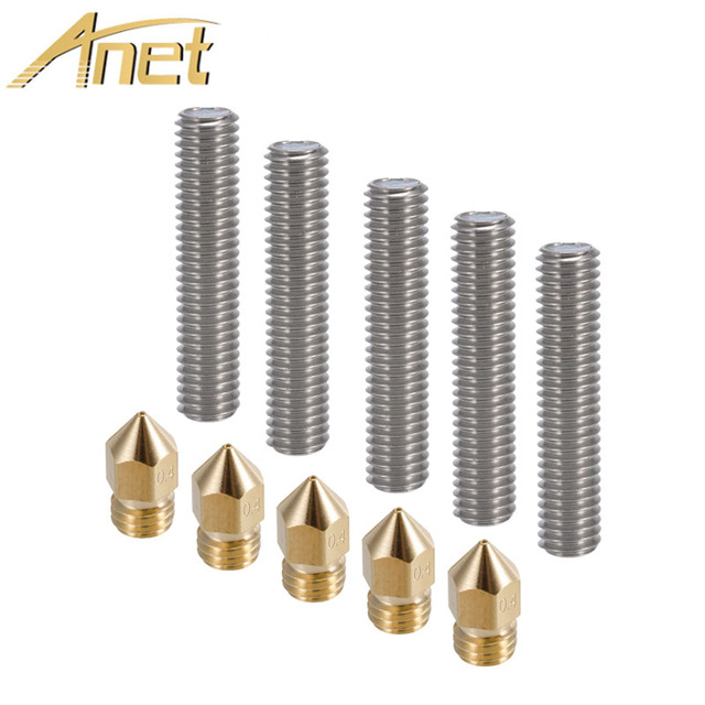 Anet A6 A3 5pcs 40MM Length Extruder 1.75mm Tube+5pcs 0.4mm Brass Extruder Nozzle Print Heads for MK8 Makerbot Reprap 3D Printer