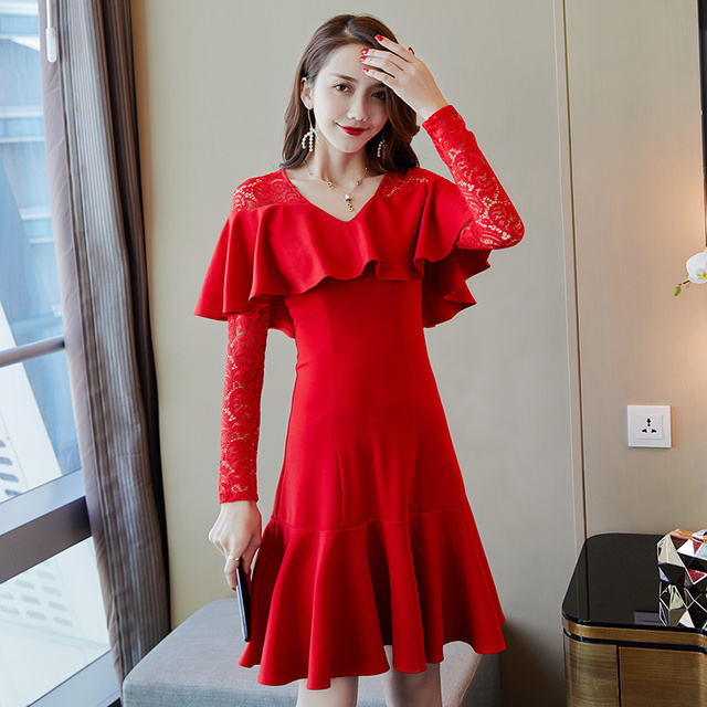 Autumn Women dress Lace + + Three Standard Kam Cotton Fabrics Good Dresses Red 2788