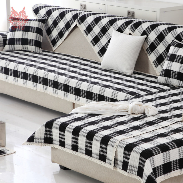 Black White Plaid Weaving Cotton Linen Sofa Cover Sectional Slipcovers Canape Couch Furniture Covers Fundas De