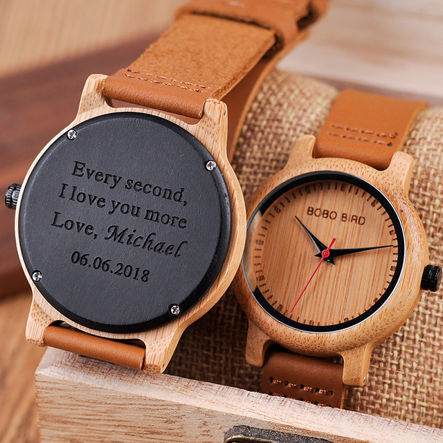 Engraved Watches For Men Women Lovers' Anniversary Engagement Gift Handmade Bamboo Personalized Watch relogio masculino A09A10